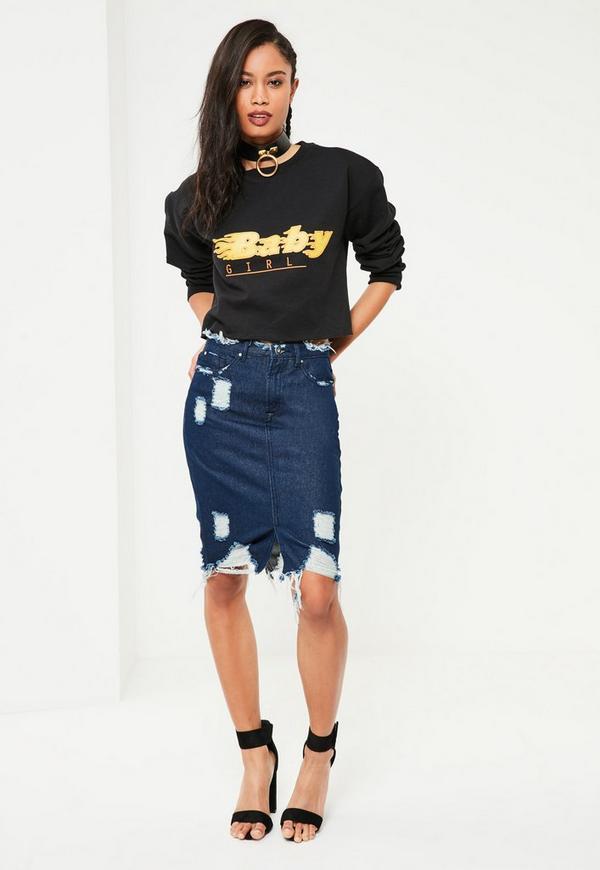 Blue Busted Hem Denim Midi Skirt
