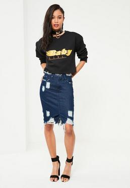 Niebieska poszarpana spódniczka jeansowa z rozporkiem