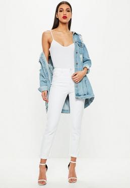 Białe jeansy Mom z wysokim stanem przeszywane różową nitką