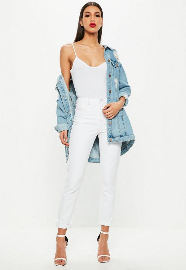 White Riot High Rise Pink Stitch Mom Jeans