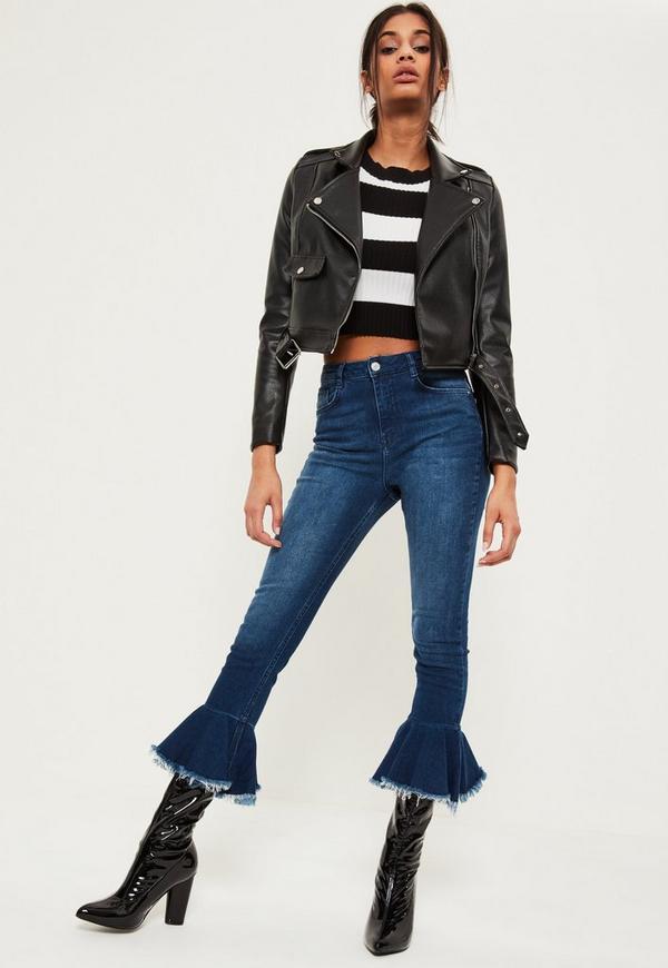 Blue Premium Sinner High Waisted Frill Hem Flare Jeans