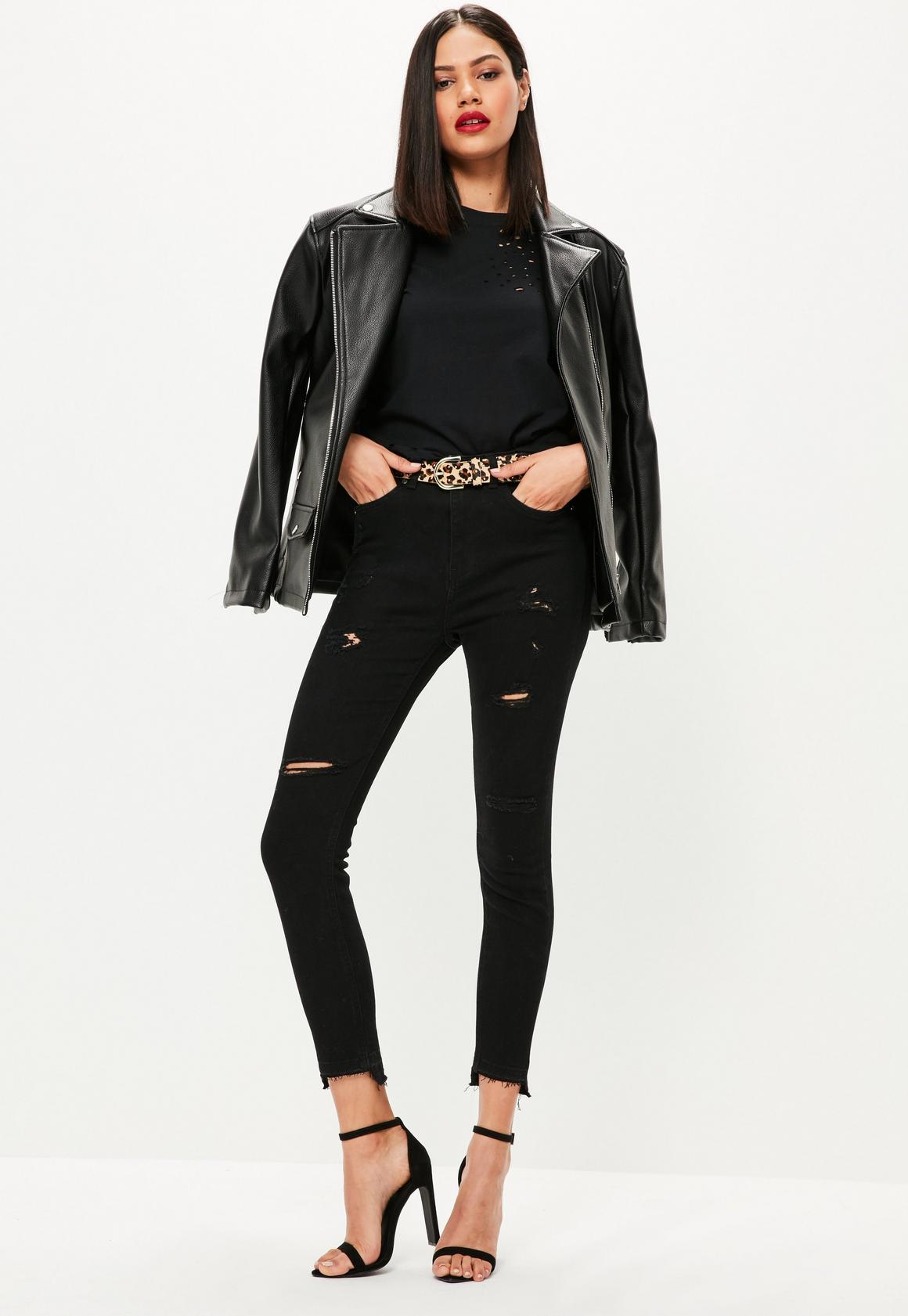 Black ripped skinny jeans missguided