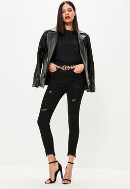 Jeans noir skinny taille haute avec bordure effilochée destroy