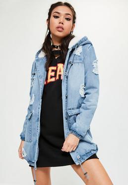 Parka en jean avec doublure en fausse fourrure