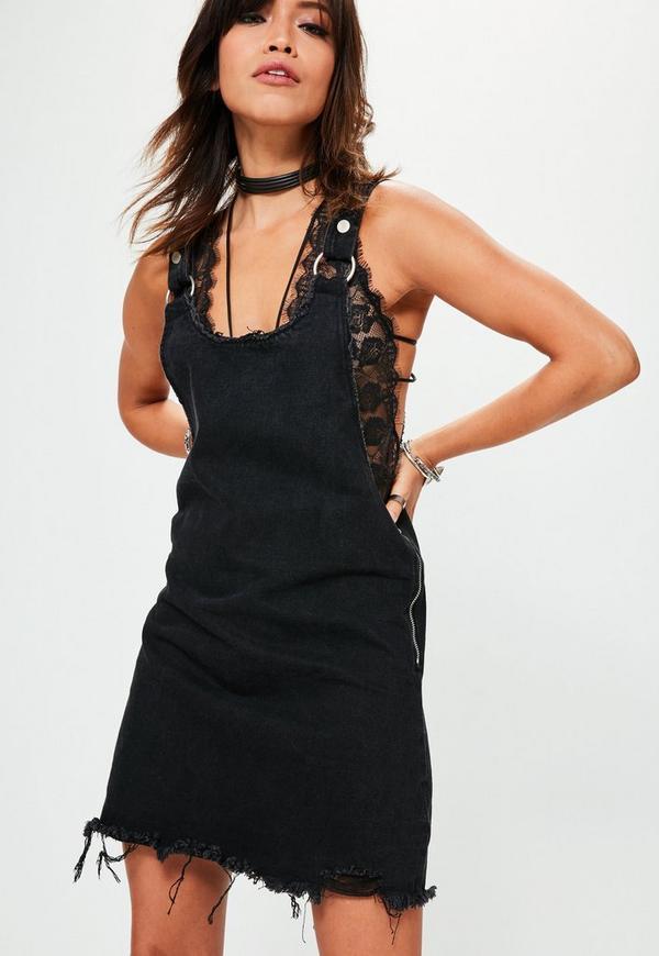 Black Pinafore Denim Dress