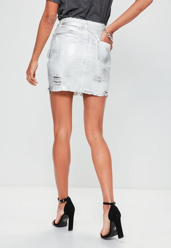 silver coated denim mini skirt missguided australia