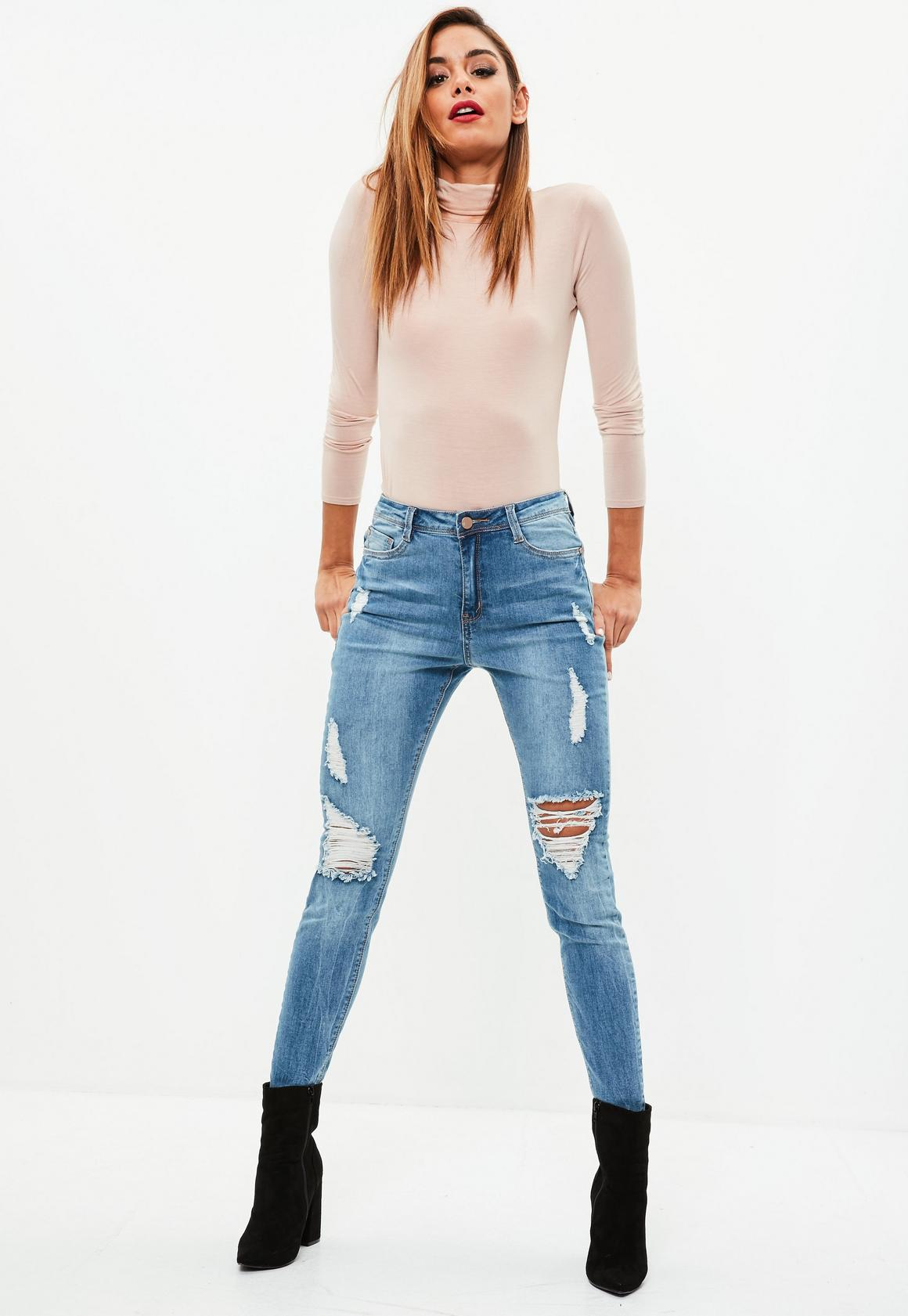 Blue Sinner High Waisted Fray Ripped Skinny Jeans | Missguided