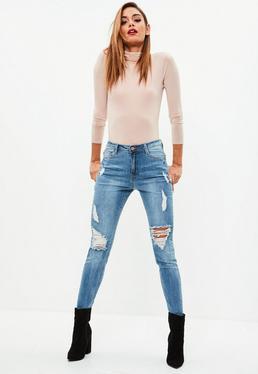 Niebieskie porwane jeansy Sinner z wysokim stanem