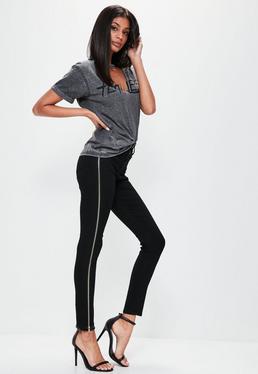 Czarne dopasowane spodnie jeansowe Rebel z wysokim stanem i zamkami po bokach