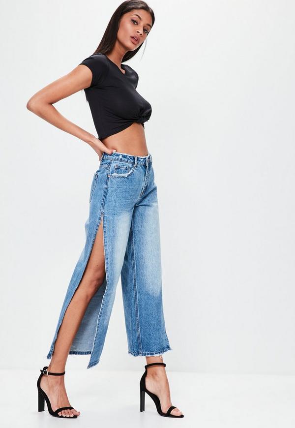 Blue Mid Rise Open Side Wide Leg Jeans