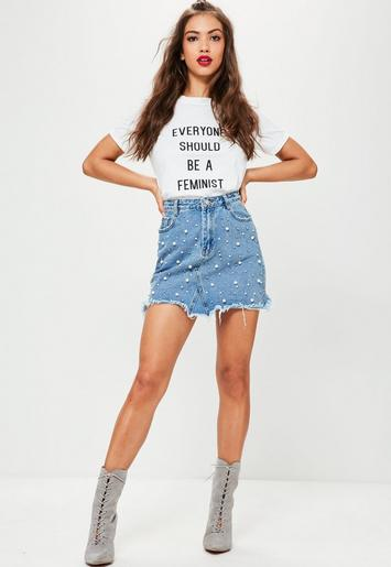 Blue Pearl Studded Denim Mini Skirt Missguided