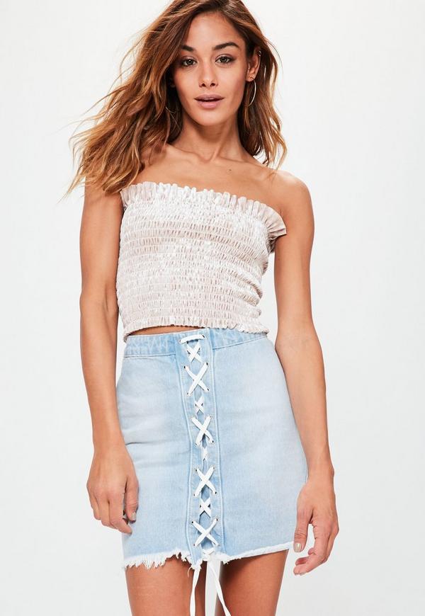 Blue Lace Up Raw Hem Denim Mini Skirt   Missguided