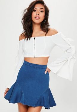 Blue Side Frill Denim Mini Skirt