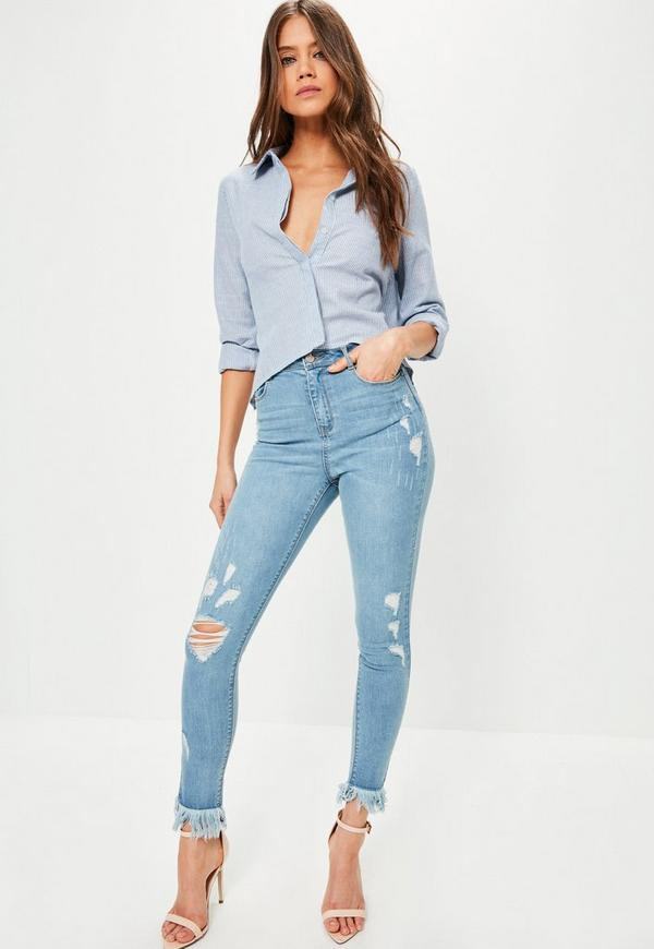 Blue Sinner High Waisted Fray Hem Ripped Skinny Jeans