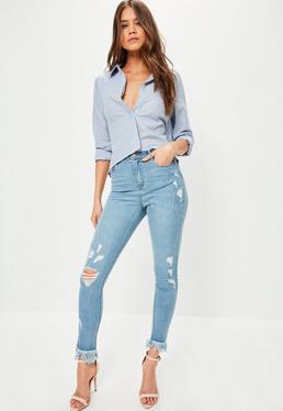 Niebieskie poszarpane spodnie jeansowe Sinner z frędzlami i wysokim stanem