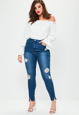 Niebieskie porwane jeansy z wysokim stanem i rozporkami na nogawkach Plus Size
