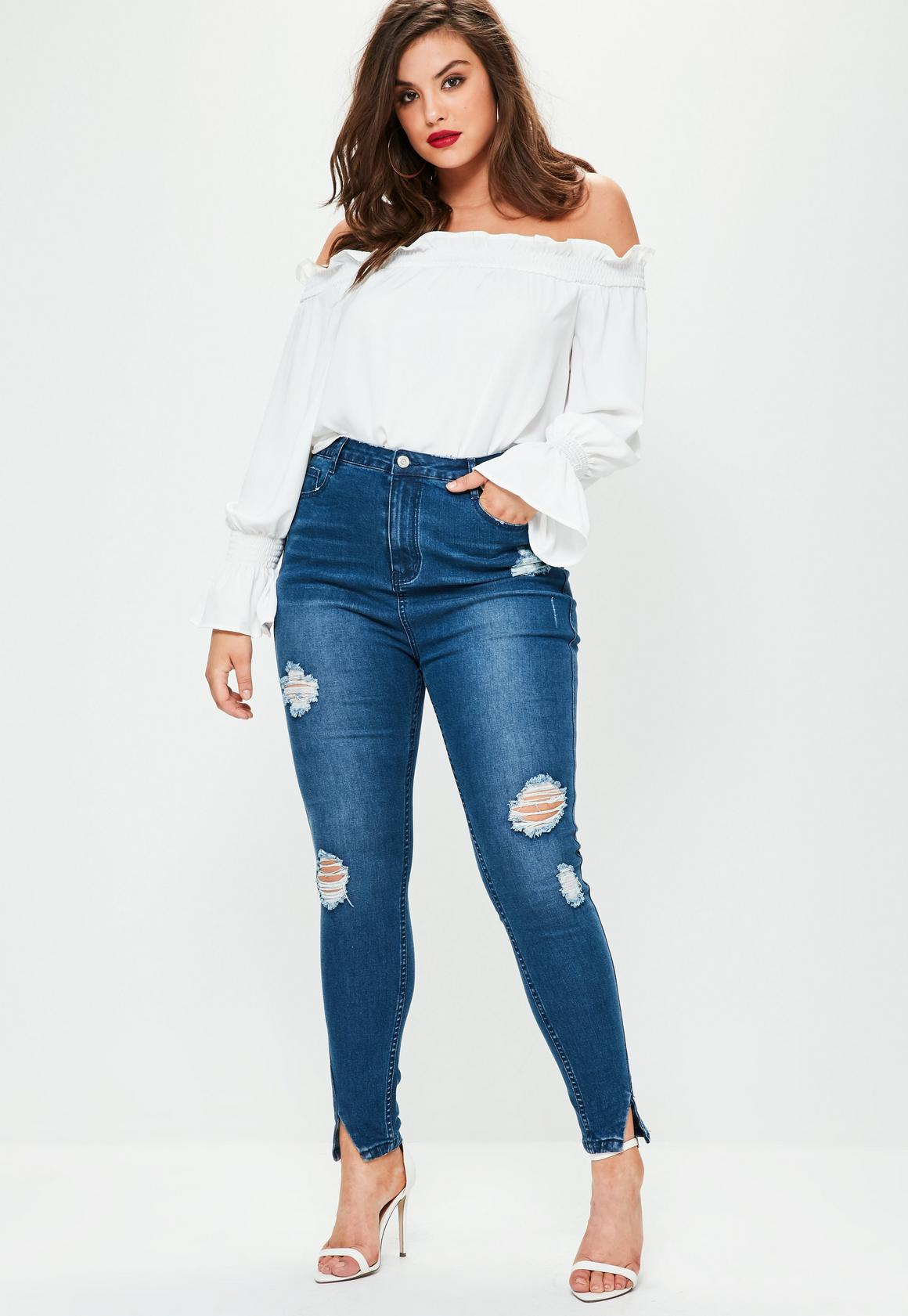 Plus Size Blue Sinner High Waisted Twisted Seam Jeans   Missguided