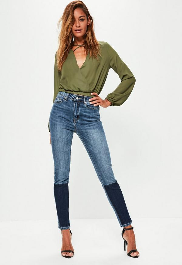 Blue Sinner High Waisted Shadow Panel Skinny Jeans