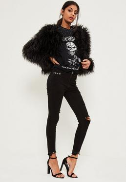 Black Sinner Highwaisted Ripped Piercing Stepped Hem Skinny Jeans