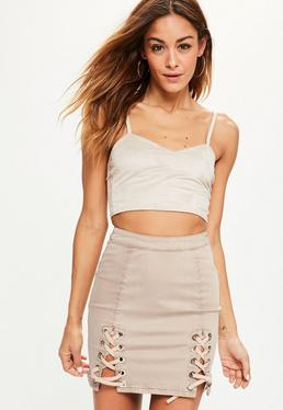 Nude Eyelet Lace Up Denim Mini Skirt