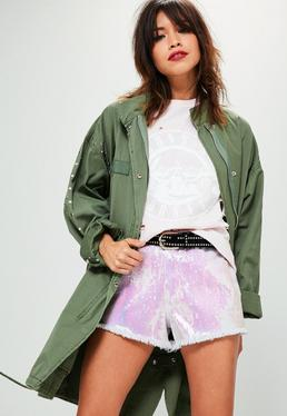White Sinner High Waisted Sequin Frayed Hem Shorts