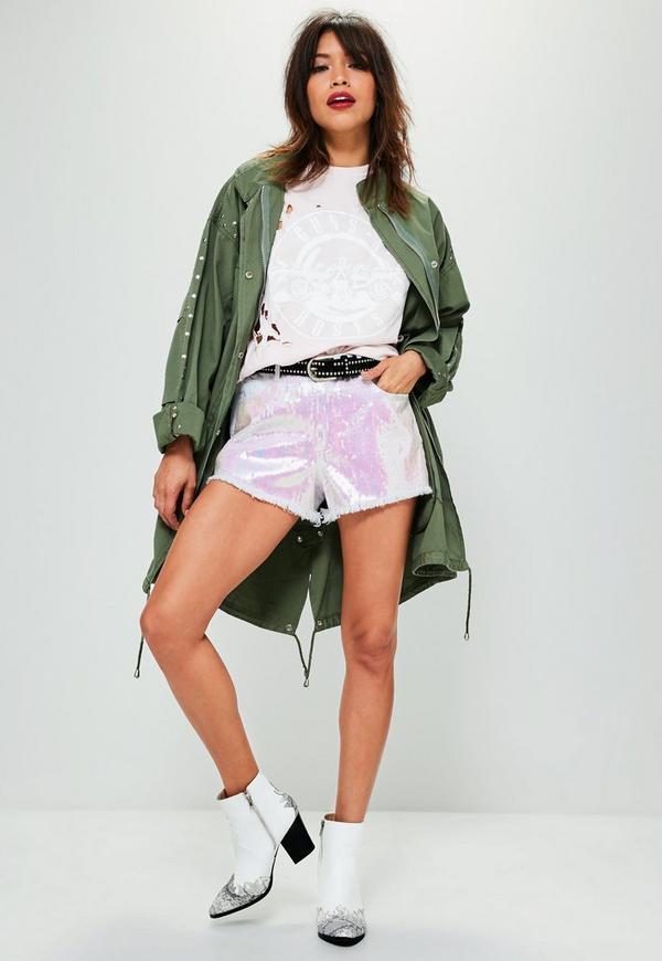White Sinner High Waisted Sequin Frayed Hem Shorts | Missguided