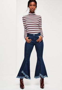 Skinny Jeans mit Extrem Schlaghosen und Fransensaum in Indigo Blau