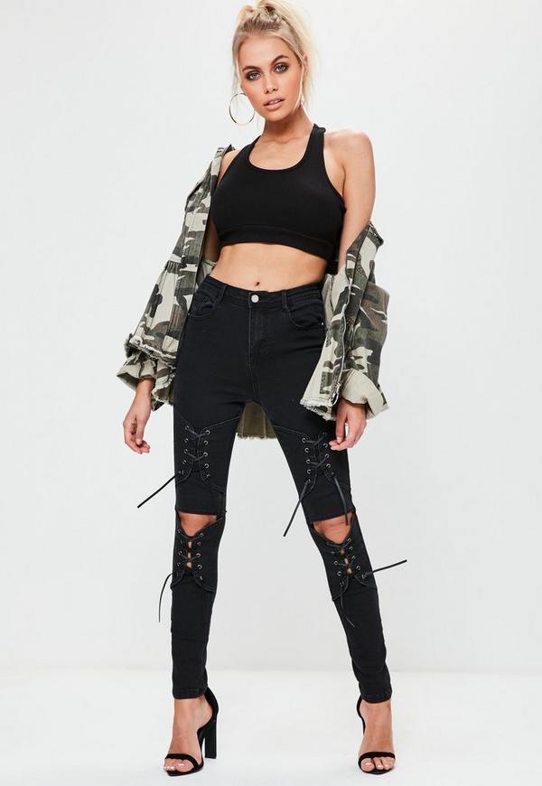 Rebel Schwarze Fetzen Jeans mit Korsett-Beinen | Missguided