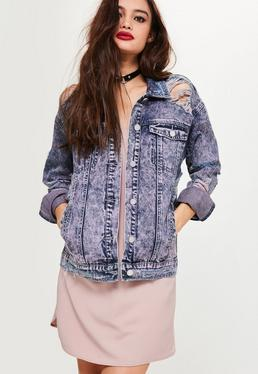 Purple Ripped Drop Shoulder Denim Jacket