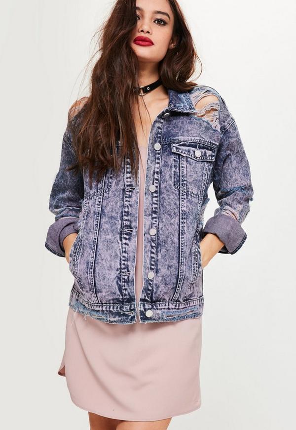Purple Ripped Drop Shoulder Denim Jacket