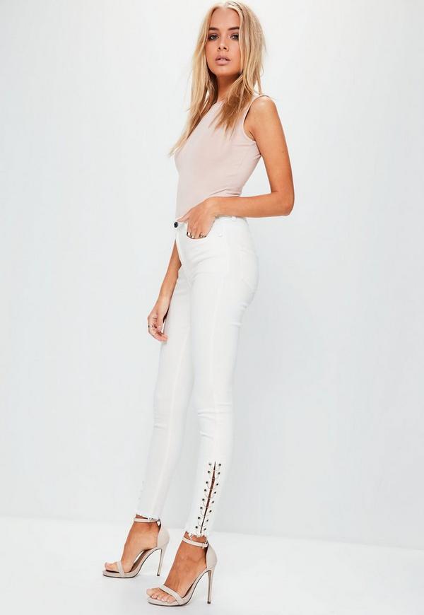 White Hustler Mid Rise Pierced Super Skinny Jeans