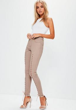 Hustler Mid-Rise Lace-Up Super Skinny Jeans in Camel