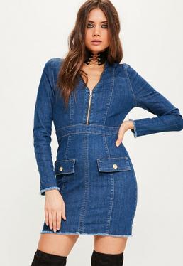 Premium Figurbetontes Denim Blazer Kleid mit goldenem Reißverschluss in Blau