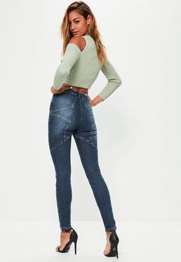 Jeans skinny bleu taille haute avec étoile au dos