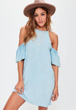 Blue Cold Shoulder Denim Cami Dress