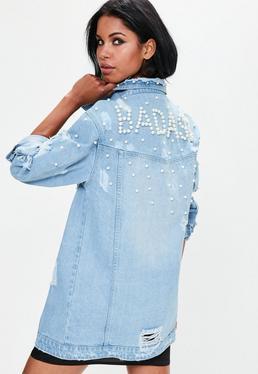 Niebieska długa jeansowa kurtka katana z perłami