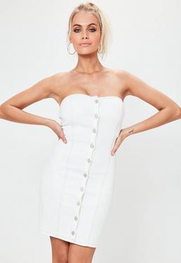 White Strapless Button Through Denim Mini Dress