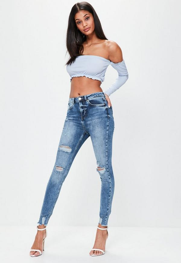 Blue Sinner High Waisted Distressed Skinny Jeans