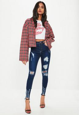 Blue Sinner Highwaisted Ripped Jeans