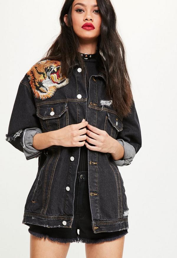 Black Embroidered Oversized Denim Jacket Missguided