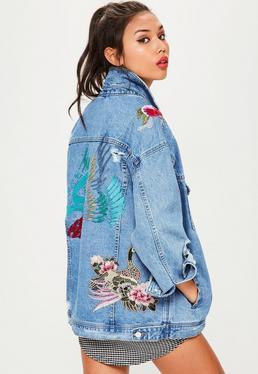 Weite Bestickte Jeansjacke in Blau