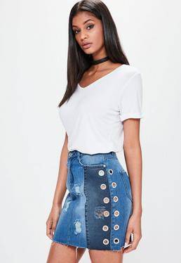 Blue Eyelet Detail Ripped Denim Skirt