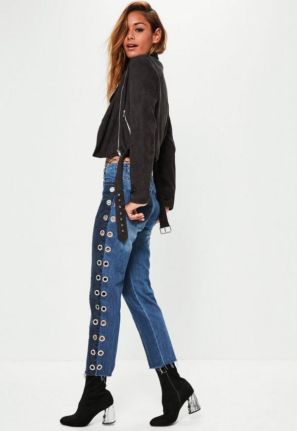 Blue Mid Rise Eyelet Detail Straight Leg Jeans