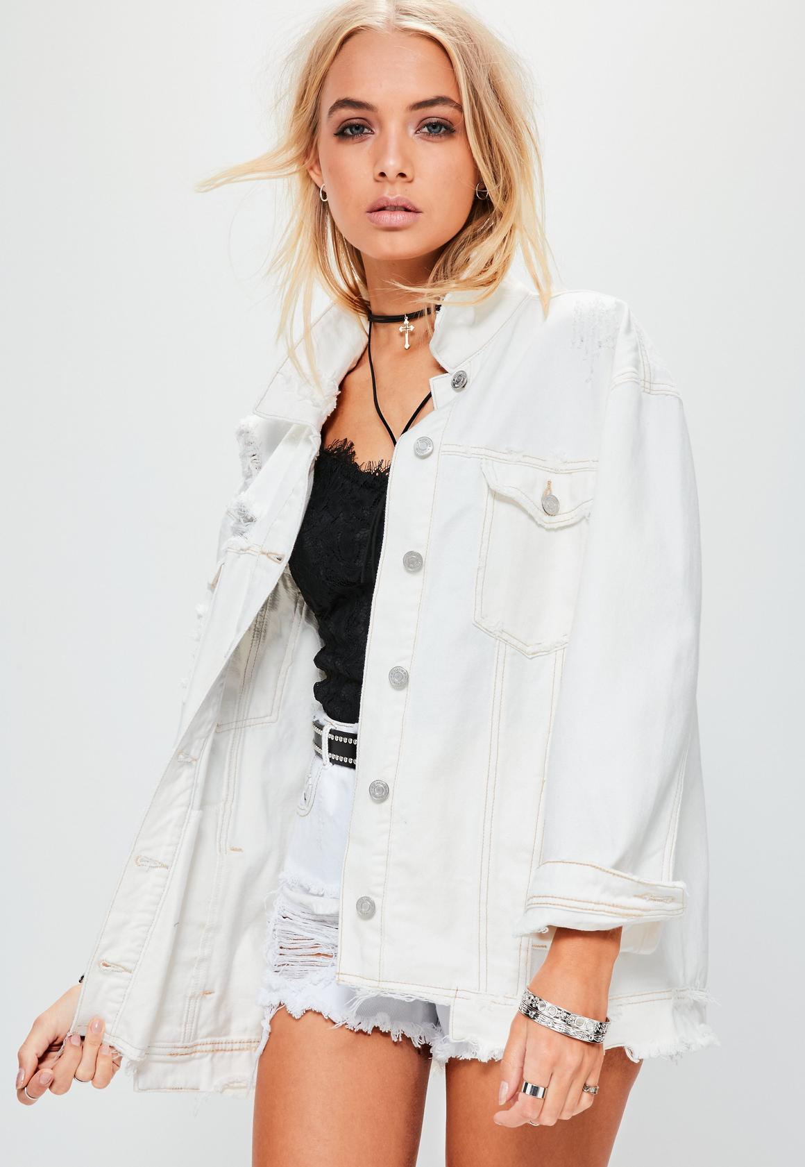 Cream Raw Hem Denim Jacket | Missguided