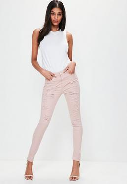 Pink Sinner High Waisted Ripped Skinny Jeans