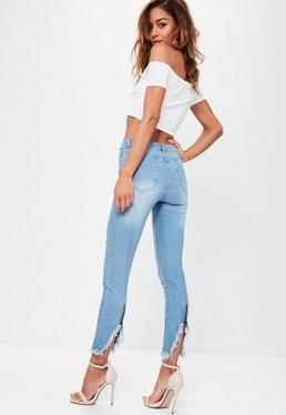 Blue Ankle Grazer Zipped Hem Skinny Jeans