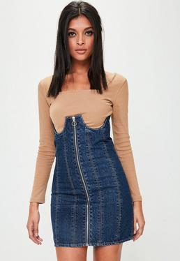 Blaues Denim Corsagenkleid mit Reißverschluss