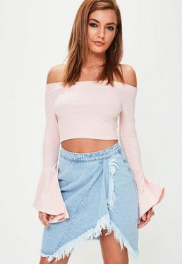 Blue Frill Open Leg Frayed Denim Skirt