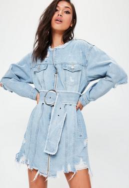 Blue Round Buckle Denim Dress