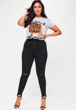 Czarne dopasowane spodnie jeansy Plus Size